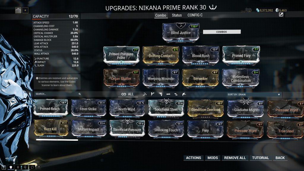 Nikana Prime Combo Multiplier Build
