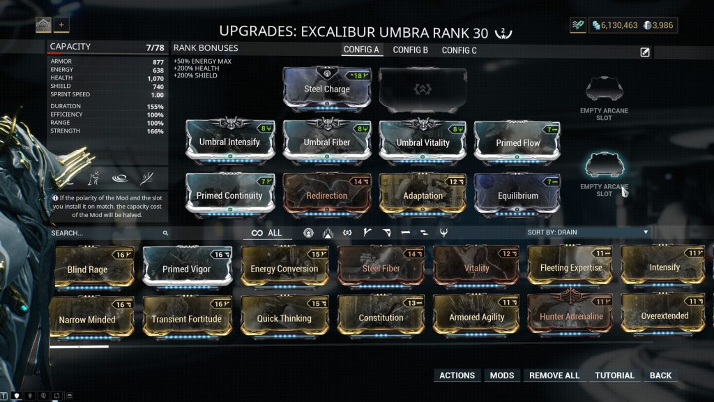 Excalibur Umbra Sentinel Mode Build