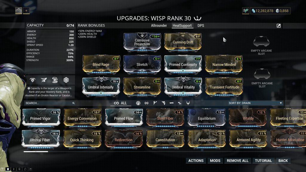 Wisp Heal Support Build