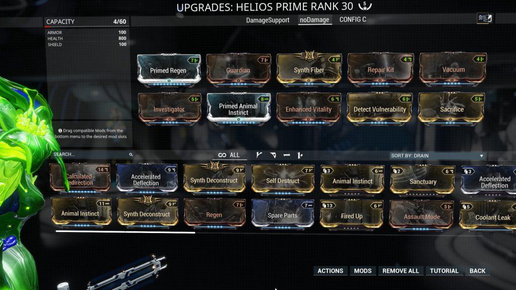 Helios Prime no-Damage Build