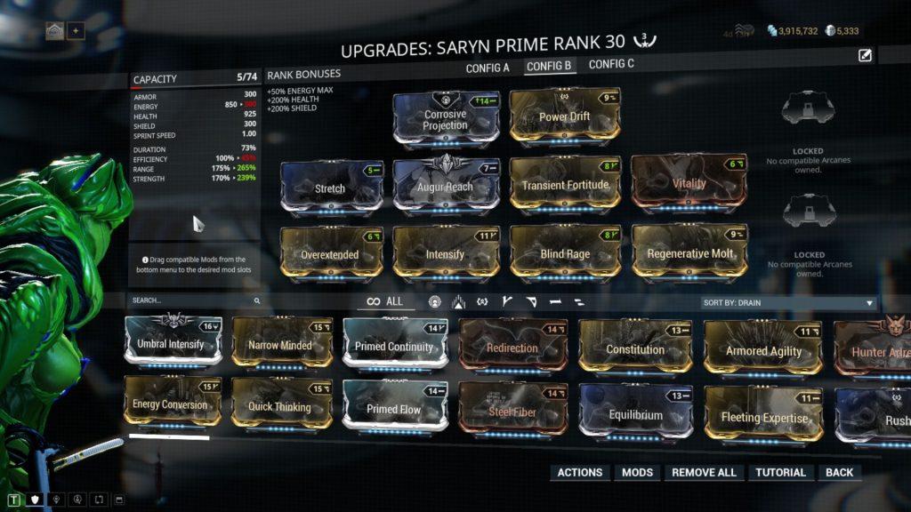 Saryn Prime Premade Group Build