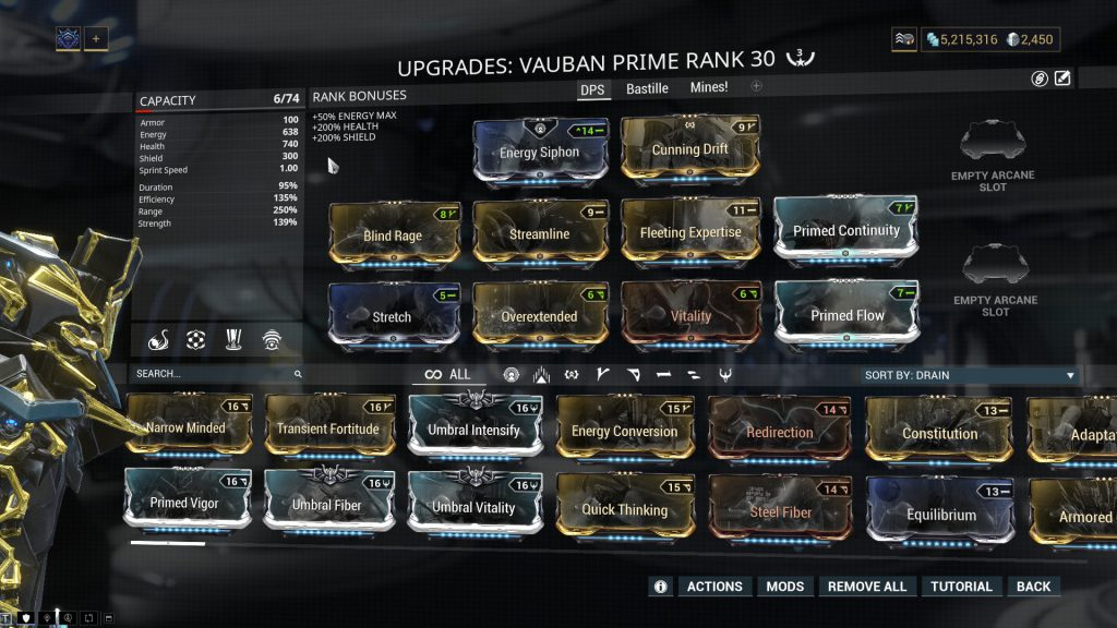 Vauban Prime Damage Build