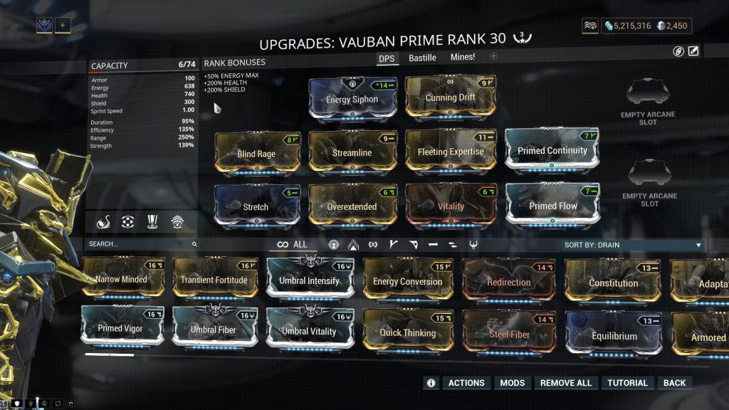Vauban Prime Damage Build
