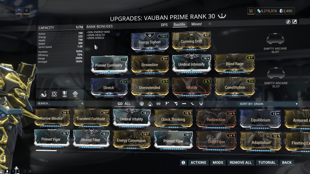 Vauban Prime New Bastille Build