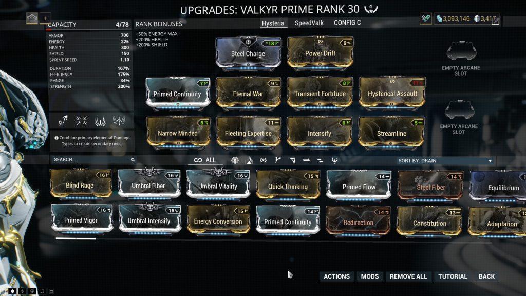 The Hysteria Valkyr Prime Build