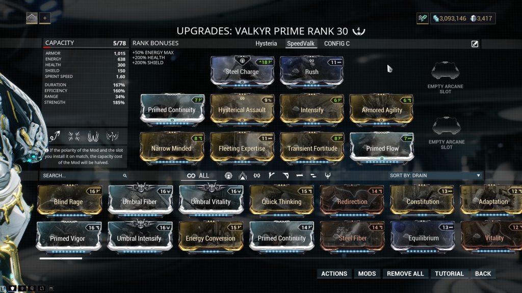 The Speed Valkyr Prime Build