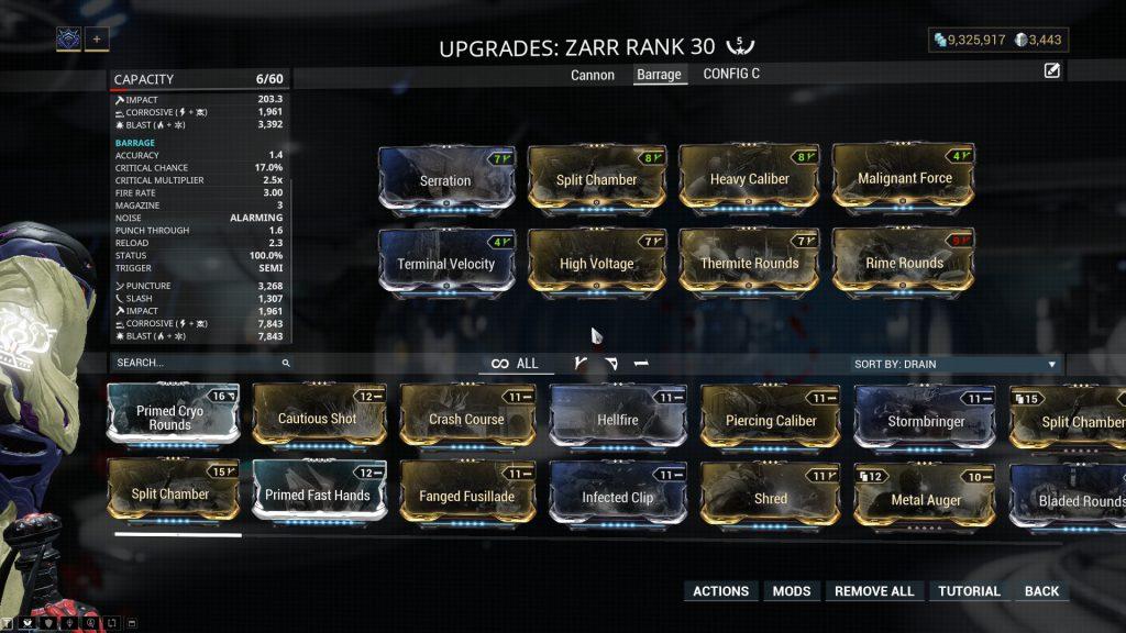 Zarr The Barrage Mode Build